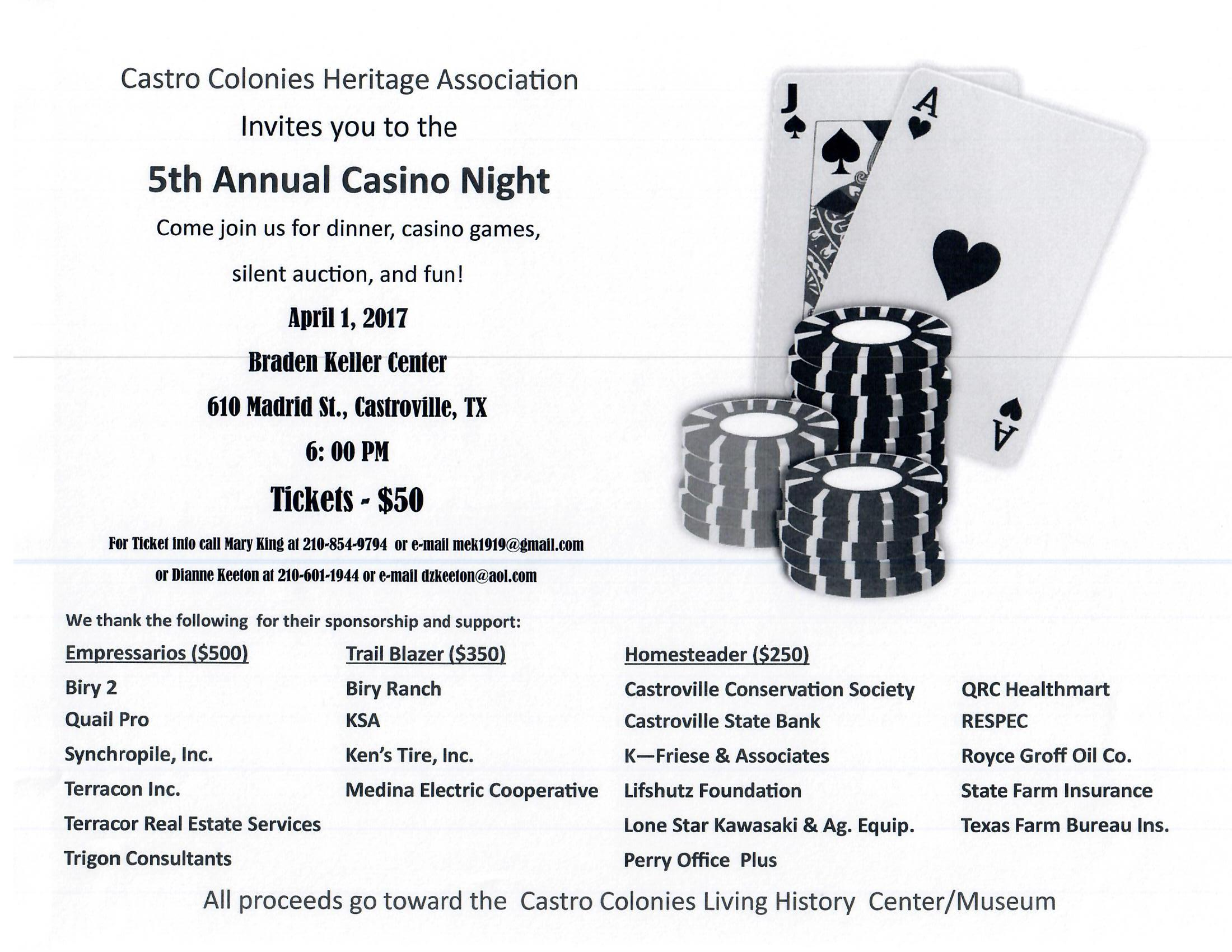 Castro Colonies Heritage Assoc. Casino Night