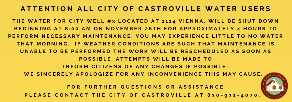 Attention all City of Castroville Water Users