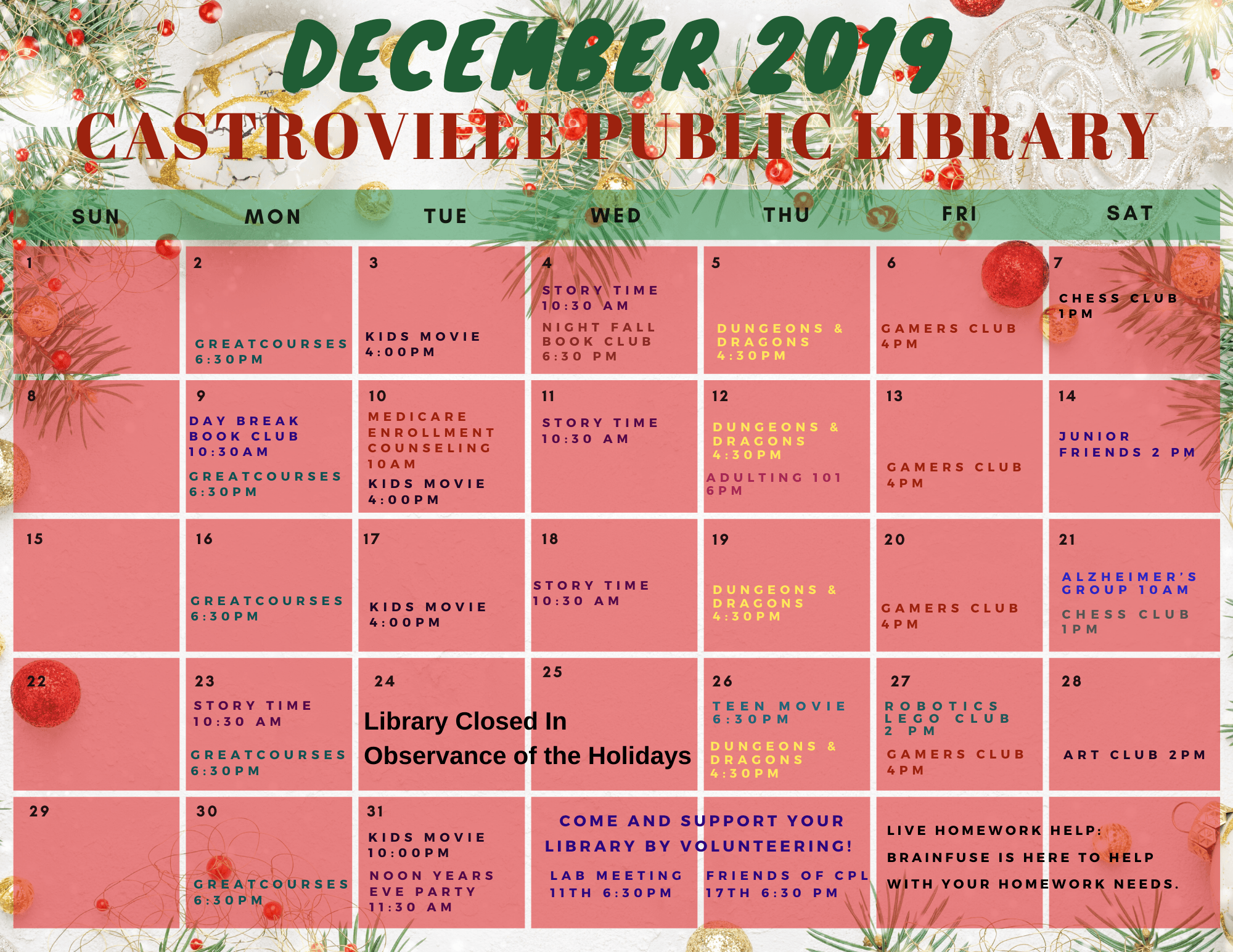 December 2019 Events